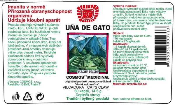 Etiketa produktu Uña de Gato - Cosmos®Medicinal