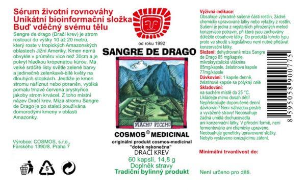 Etiketa produktu Sangre de Drago - Cosmos®Medicinal