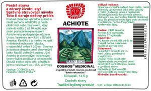 Etiketa produktu Achiote - Cosmos®Medicinal