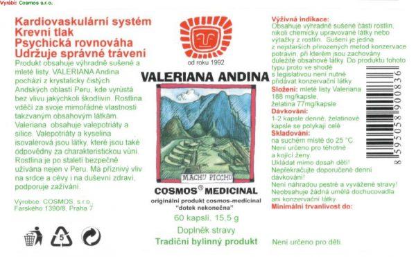 Etiketa produktu Valeriana Andina - Cosmos®Medicinal