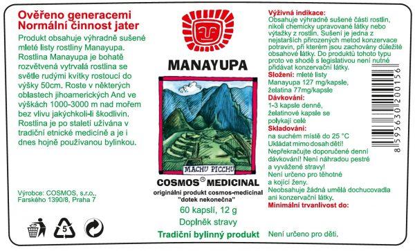 Etiketa produktu Manayupa - Cosmos®Medicinal