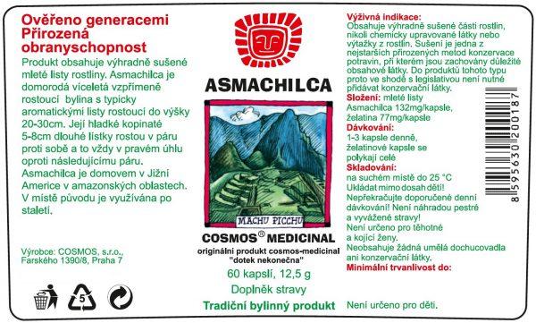 Etiketa produktu Asmachilca - Cosmos®Medicinal