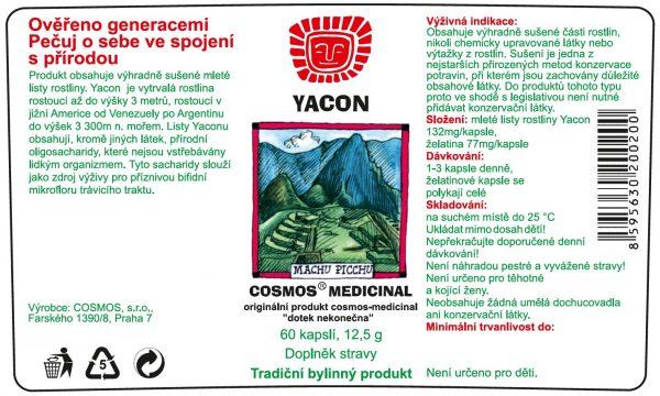 Etiketa produktu Yacon - Cosmos®Medicinal