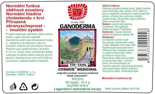 Etiketa produktu Ganoderma - Cosmos®Medicinal