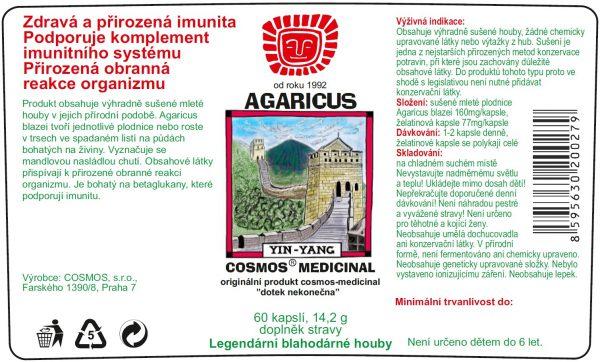 Etiketa produktu Agaricus - Cosmos®Medicinal