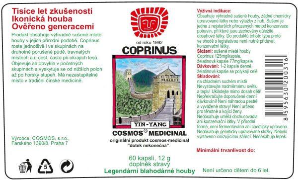Etiketa produktu Coprinus - Cosmos®Medicinal