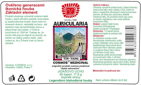 Etiketa produktu Auricularia- Cosmos®Medicinal